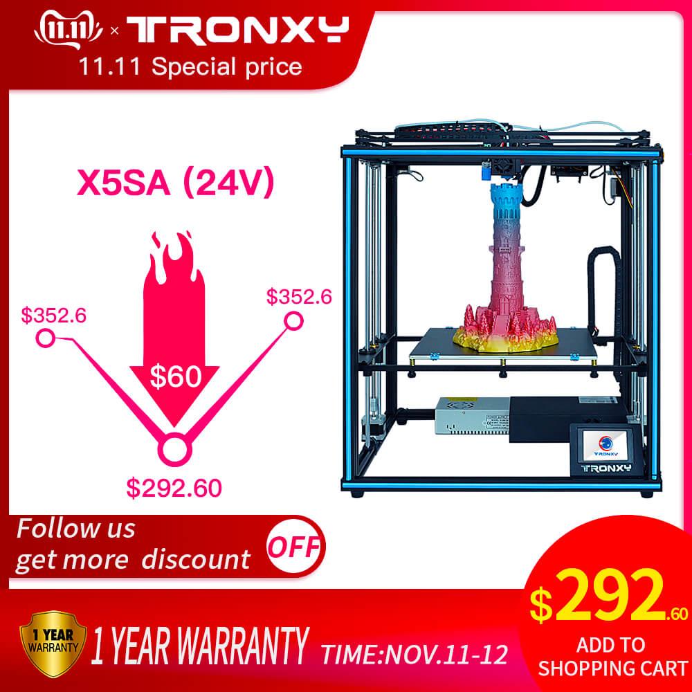 Tronxy actualizado nuevo X5SA 24V 3D impresora DIY Kits de nivel automático de gran tamaño de impresión de calor cama 3d máquina Sensor de filamento