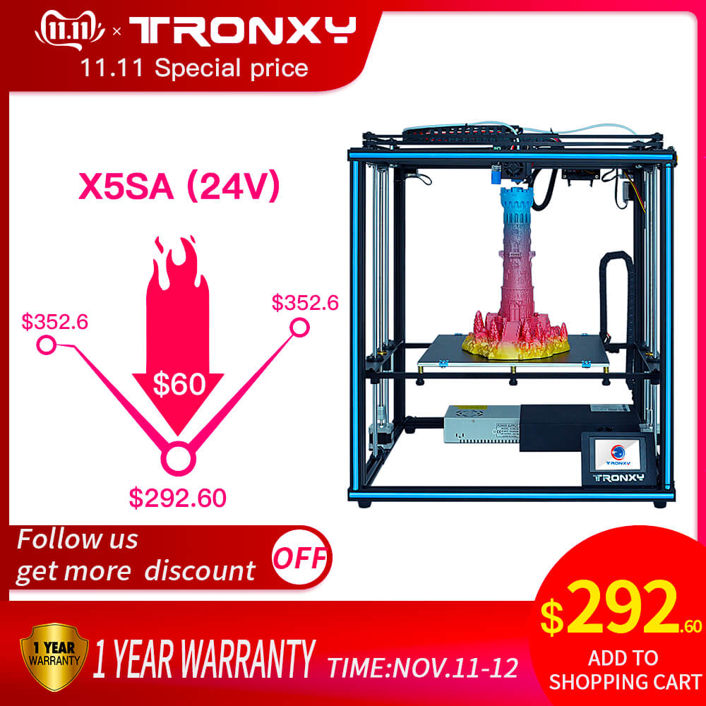 Tronxy amélioré nouveau X5SA 24V 3D imprimante Kits de bricolage niveau automatique grande taille d'impression lit chauffant 3d Machine Filament capteur