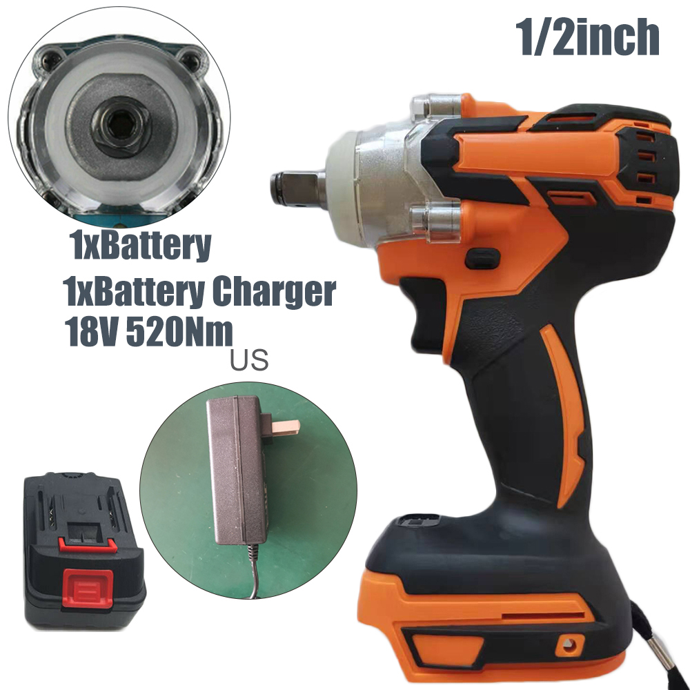 New 18V 1/2inch 520Nm Cordless Drill Electric Screwdriver Mini Wireless Power Electric Impact Wrench Driver