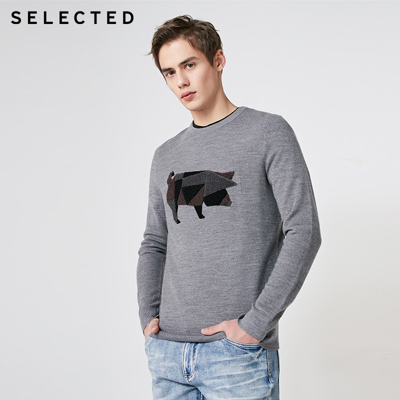 SELECTED Mens  Winter Wool Blend Long-sleeved Sweater |  419124546