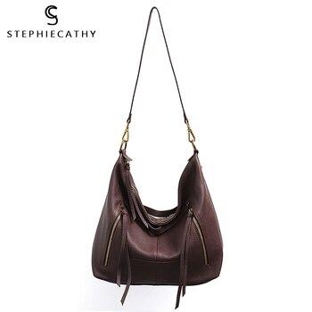 SC натуральная кожа женские сумки через плечо функциональная молния Сумочка с карманами Женская винтажная сумка через плечо большие сумки и