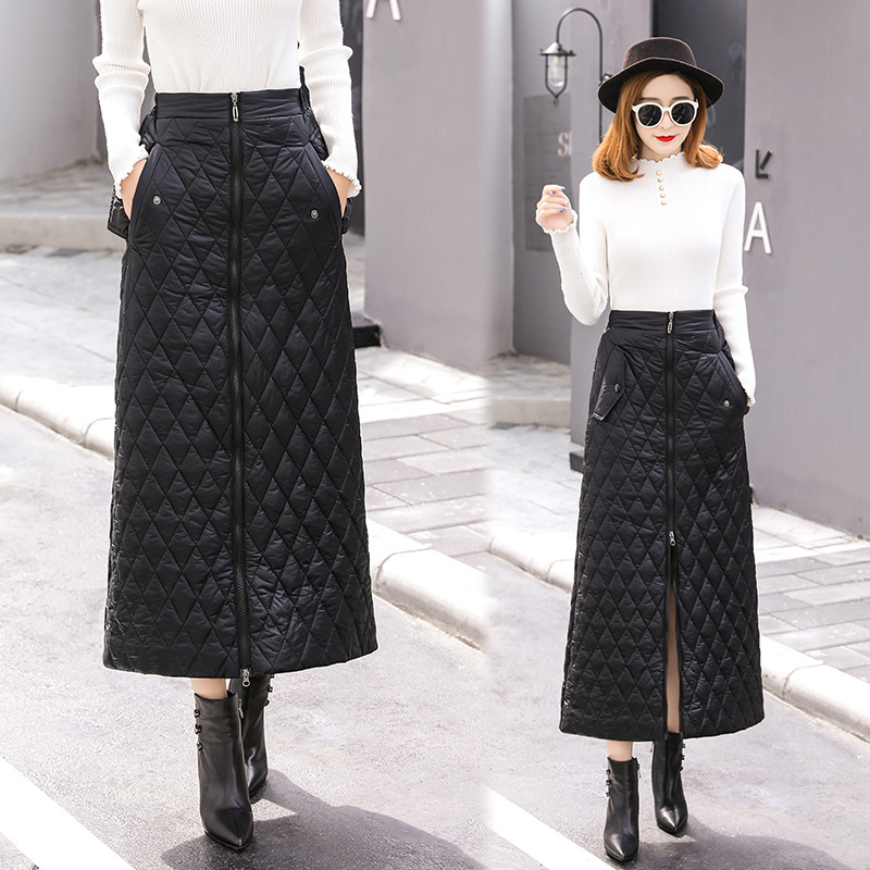 Autumn And Winter Women's 2019 New Style 2018 Winter New Style Warm Half-length Long Thick Down Cotton A- Line Skirt