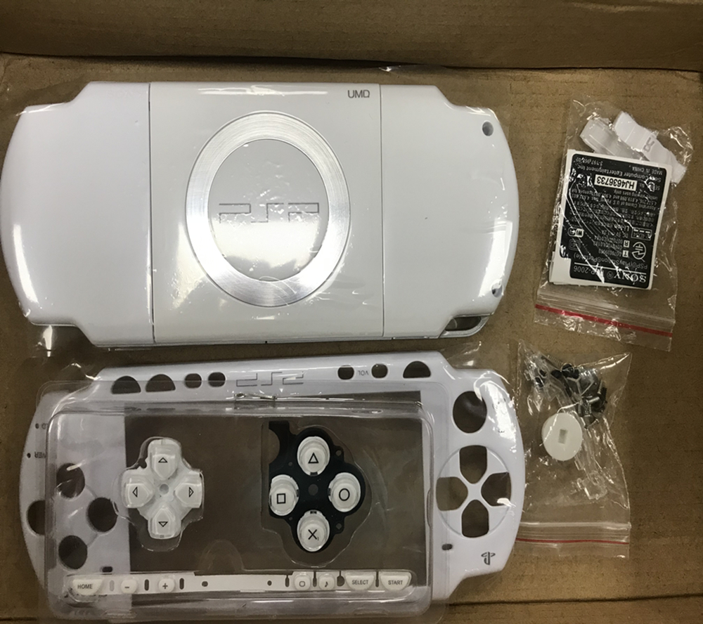 White for <font><b>PSP</b></font> 1000 PSP1000 <font><b>PSP</b></font> 2000 PSP3000 <font><b>PSP</b></font> <font><b>3004</b></font> Full Housing Case Cover Complete Console <font><b>Shell</b></font> Buttons + Sticker + Screw image