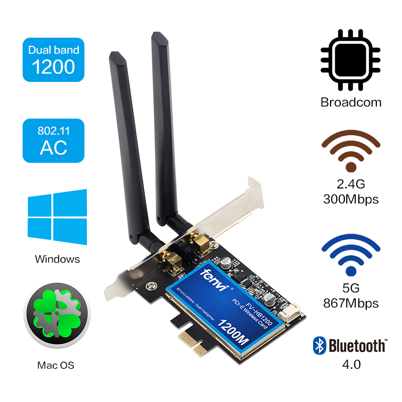 Desktop Dual Band 802.11ac Broadcom BCM94360 Wireless AC WiFi Bluetooth 4.0 PCI E Adapter For Mac/Hackintosh/Windows-in Network Cards from Computer & Office