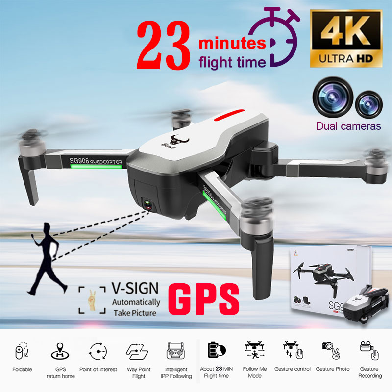 SG906 4K Video HD Camera <font><b>Drone</b></font> WIFI <font><b>FPV</b></font> <font><b>GPS</b></font> Follow Quadcopter Optical Flow Positioning 23min Flying Time 800m Remote Aircraft image