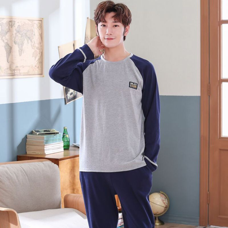 Plus Size 4XL Pajamas Sleeping Suits For Men Full Cotton Long Sleeve Pants Raglan Sleeves Pyjamas Male Autumn Winter Pijamas