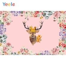 Yeele Baby Princess Birthday Party Flower Backdrop Reindeer Customized Photocall Vinyl Photography Background For Photo Studio