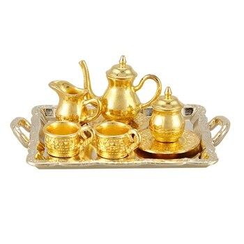 Dollhouse Miniature 1: 12 Toy 8 Pcs Metal Tea Set Length 6.5cm
