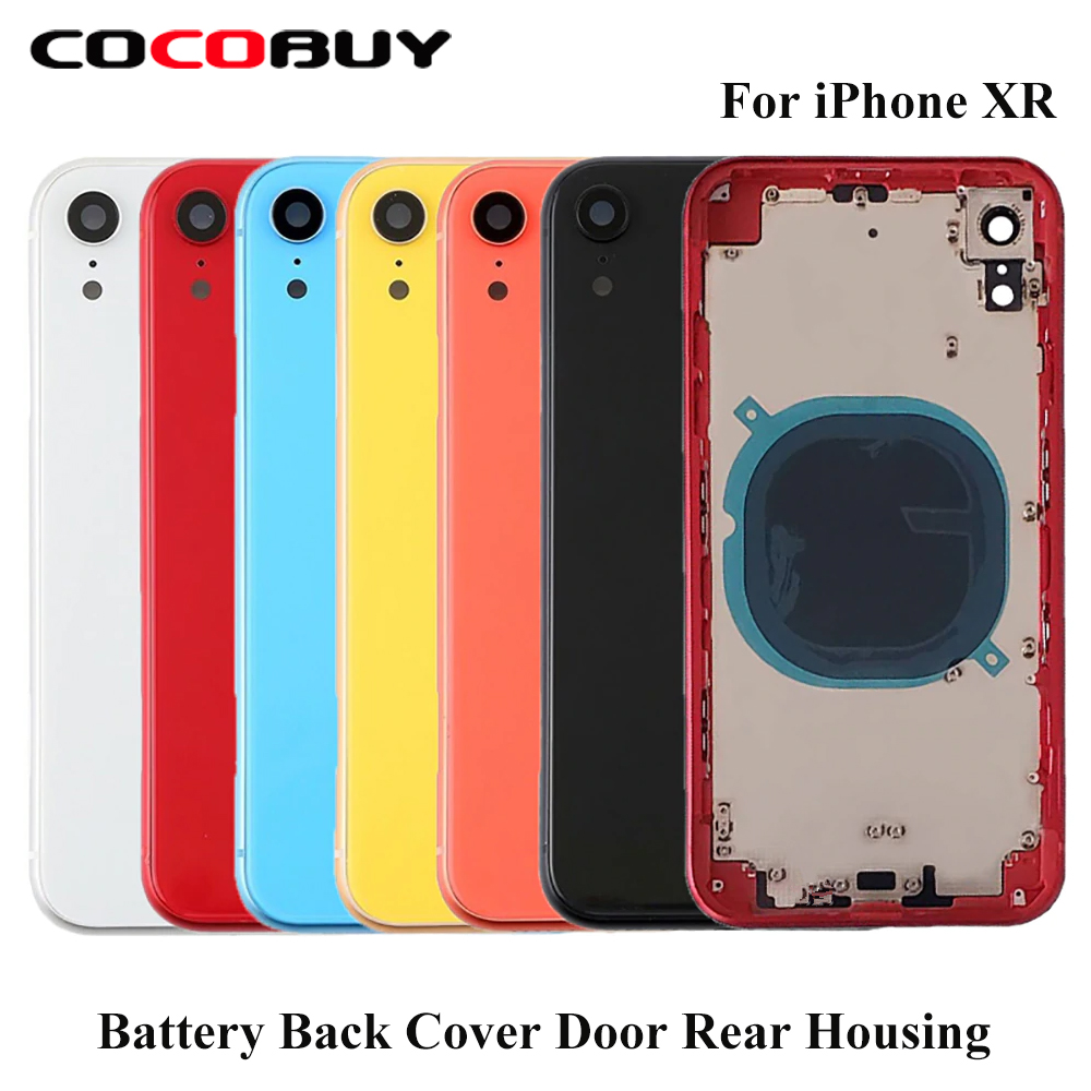Back Cover Rear Housing Replacement Parts 6 Color Back Glass Middle Frame Chassis Battery Cover Door For IPhone XR Repair