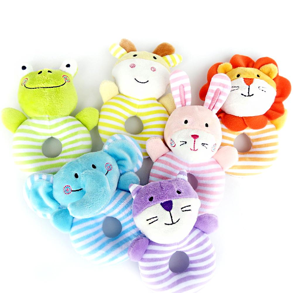 Cute Soft Infant Rattle Sound Hand Grip Shake Bell Stuffed Animal Baby Toy Gift