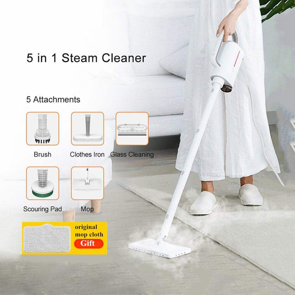 Original Xiaomi Deerma ZQ611 5 IN 1 Steam Mop Electric Handheld Floor Mop Free 5 Attachments Vacuum Machine Household Cleaner
