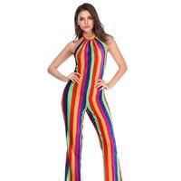 2019coscos Halloween Day Ladies Dress Lady Slim Thin Rainbow Stripe Print Halter Hanging Neck Pants One Piece Suit Women