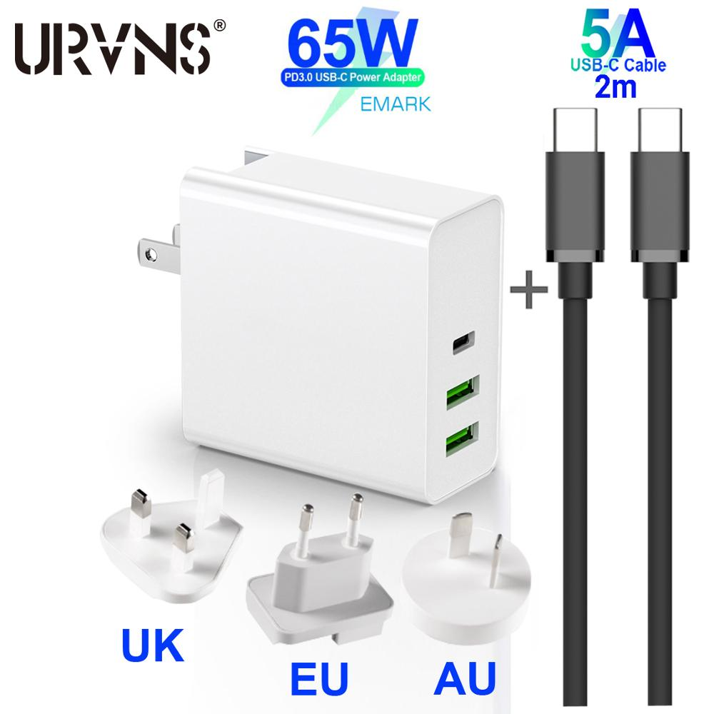 URVNS 65 Вт USB C адаптер питания, 1 порт PD дорожное зарядное устройство для ноутбуков MacBook Pro/Air iPad Pro, 2 порта USB для Samsung iPhone