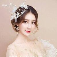 HIMSTORY Handmade Bridal Wedding Fedoras Hair Jewelry Flower Silk Yarn Headpieces Wedding Accessories Beautiful Hat Headwear