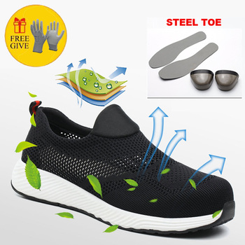 Steel Toe Safety Shoes Industrial & Construction Puncture Proof Summer Men Breathable Mesh Work Shoes Protective Footwear large size men casual comfort mesh steel toe cap work safety summer shoes puncture proof tooling security boots protect footwear