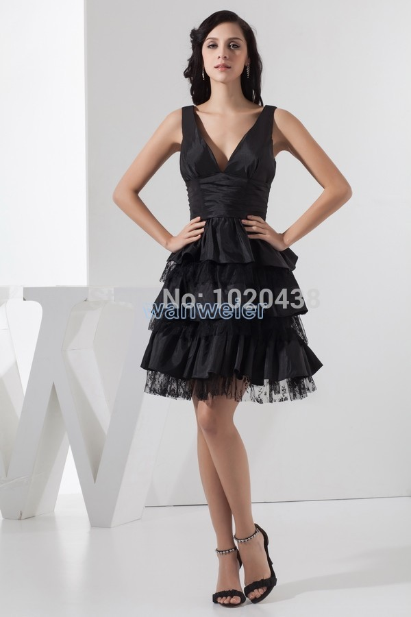 Free Shipping Fashion 2015 New Design Dubai Kaftan Hot Pleat Custom Size/color A-line Knee-Length Black V-neck Bridesmaid Dress