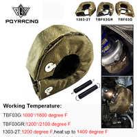 PQY-100% entièrement titane T3 turbo couverture turbo bouclier thermique ajustement: t2 t25 t28 gt28 gt30 gt35 et la plupart des t3 turbo PQY-TBF03