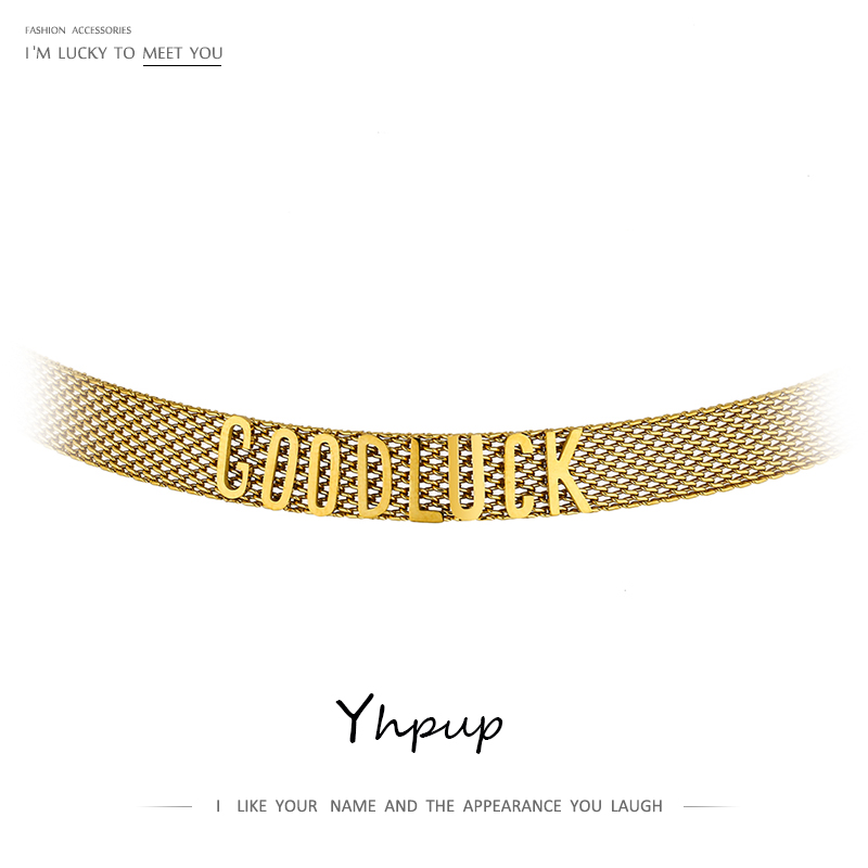 Yhpup Stylish Unique Design GOOD LUCK Letter Collar Necklace joyería acero inoxidable mujer Jewelry Stylish Chain Collares 2021