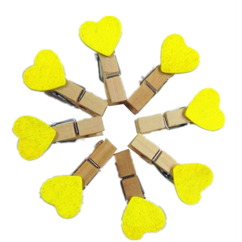 10pcs/lot Kawaii Yellow Wooden Paper Clip Photo Clips Wooden Clip DIY Photo Wall Decoration Clip Craft Pegs