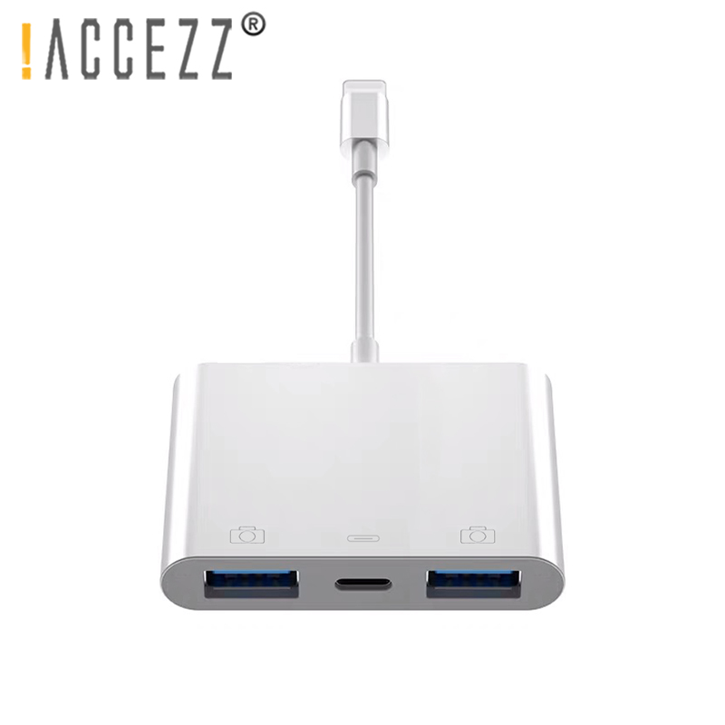 !ACCEZZ USB to Lighting IOS 13 OTG Adapter For iPhone 11 XS Pro 7 8 For iPad Charger Cable For Mouse Keyboard MIDI Camera Reader
