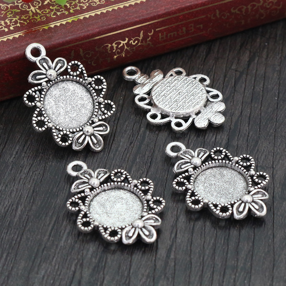16pcs 12mm Inner Size Antique Silver Plated Fashion Style Cabochon Base Cameo Setting Charms Pendant (A2-16)