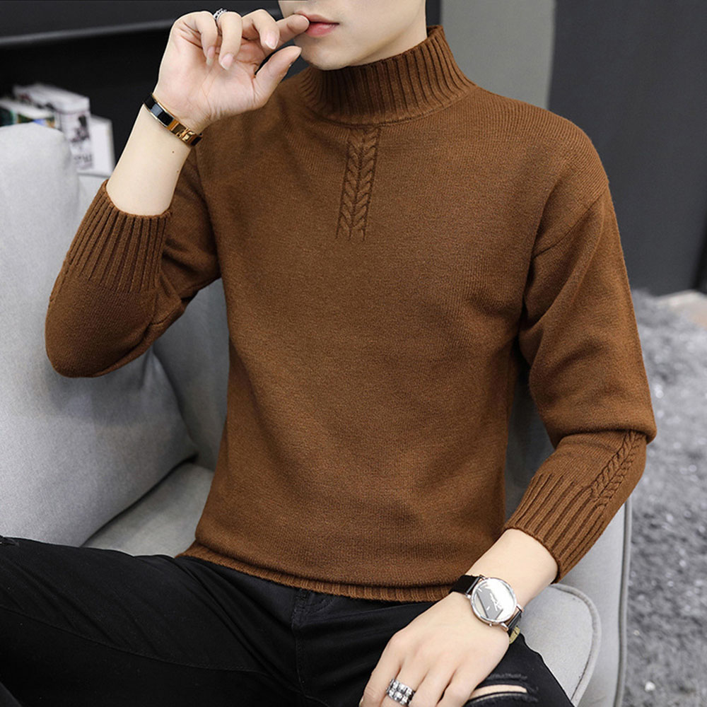 Christmas 2019 Men Sweaters Winter Clothing Long Sleeve Turtleneck Male Pullovers Man Jumper New Year Basic Knitted Sweater Tops