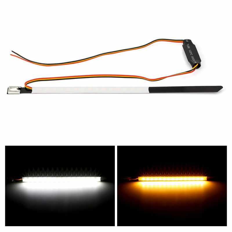 Moto rcycle Auto LED Strip 12V Geel Richtingaanwijzer Rubber Wit Driving light Voorvork Schokabsorptie Licht lamp moto