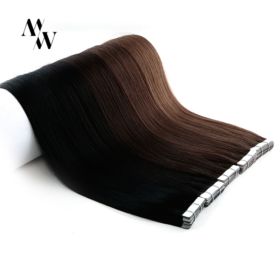 Mw fita de remy tirada dobro em extensões do cabelo humano 100% cabelo esparadrapo trama da pele real 16/20/24 polegadas multi-cores