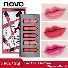 NOVO 5pcs/set Sexy Matte Lipstick Set Waterproof Long lasting Pigment Lip pencil