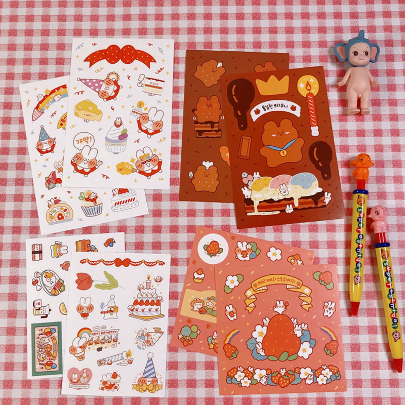 Cute Cartoon Comic Rabbit Stickers Color Hand Account Decoration Sticker Campus Phone Case Waterproof Stickers Kawaii Stationery
