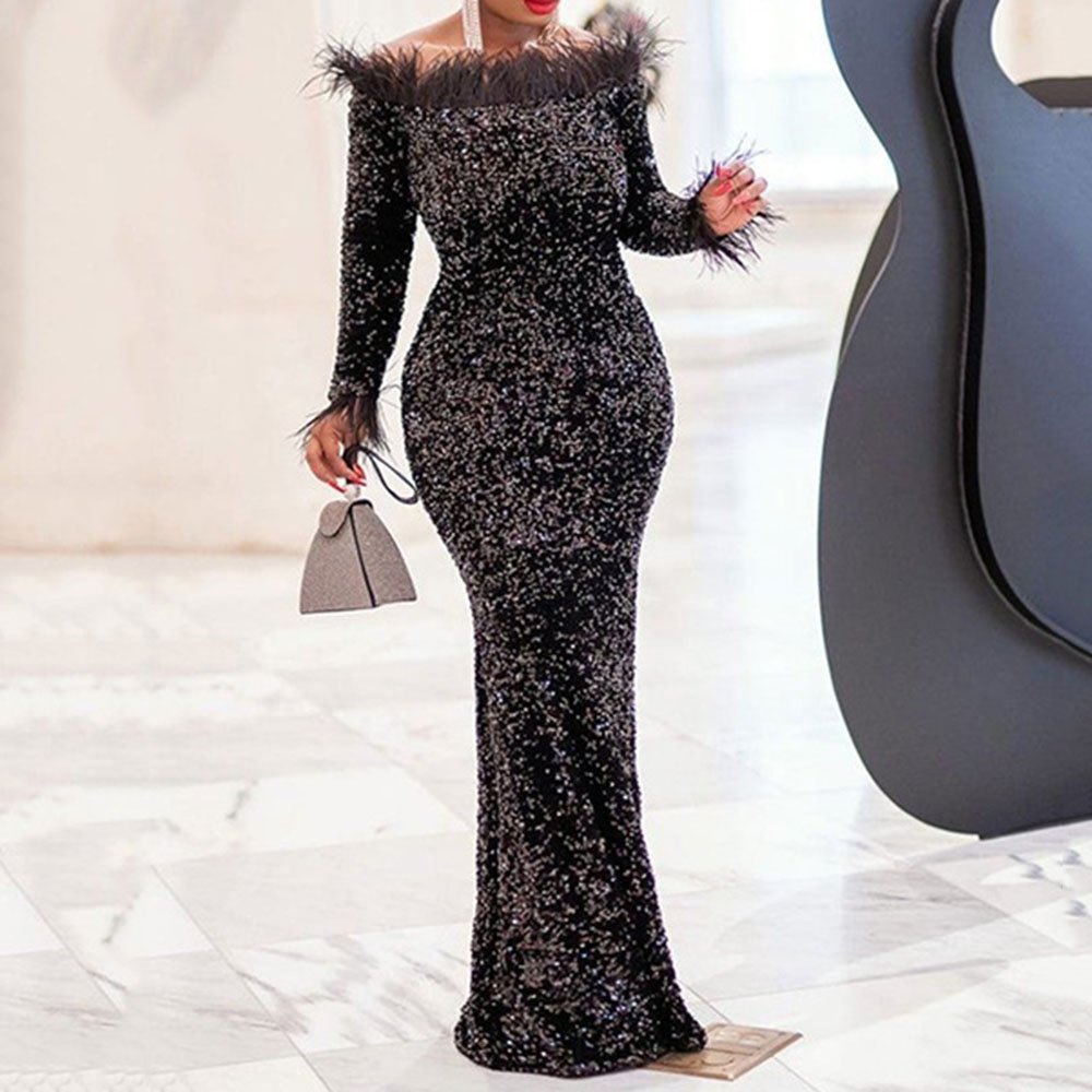 Sexy Feather Off Shoulder Evening Party Dress African Women Mermaid Long Dresses Black Shiny Sequin Long Sleeve Robe De Soiree