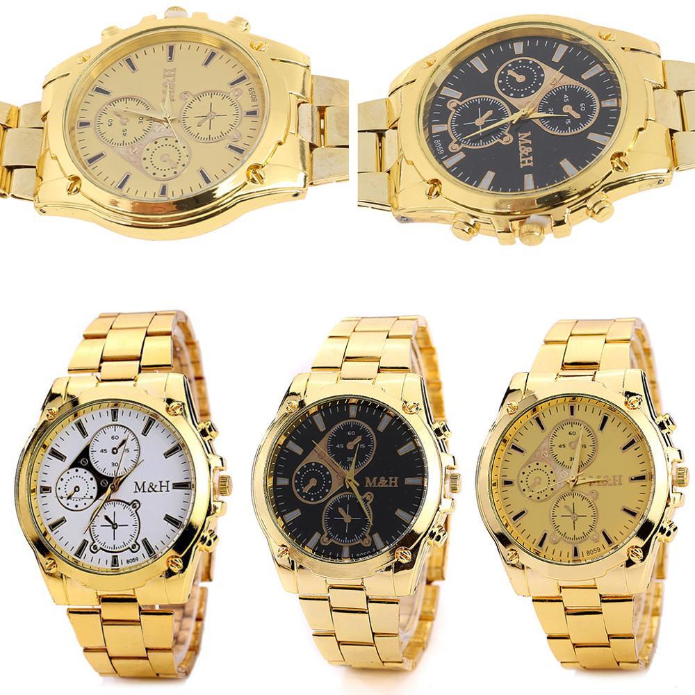 Men Classic Stainless Steel Analog Sport Quartz Wrist Watch Gold Color
