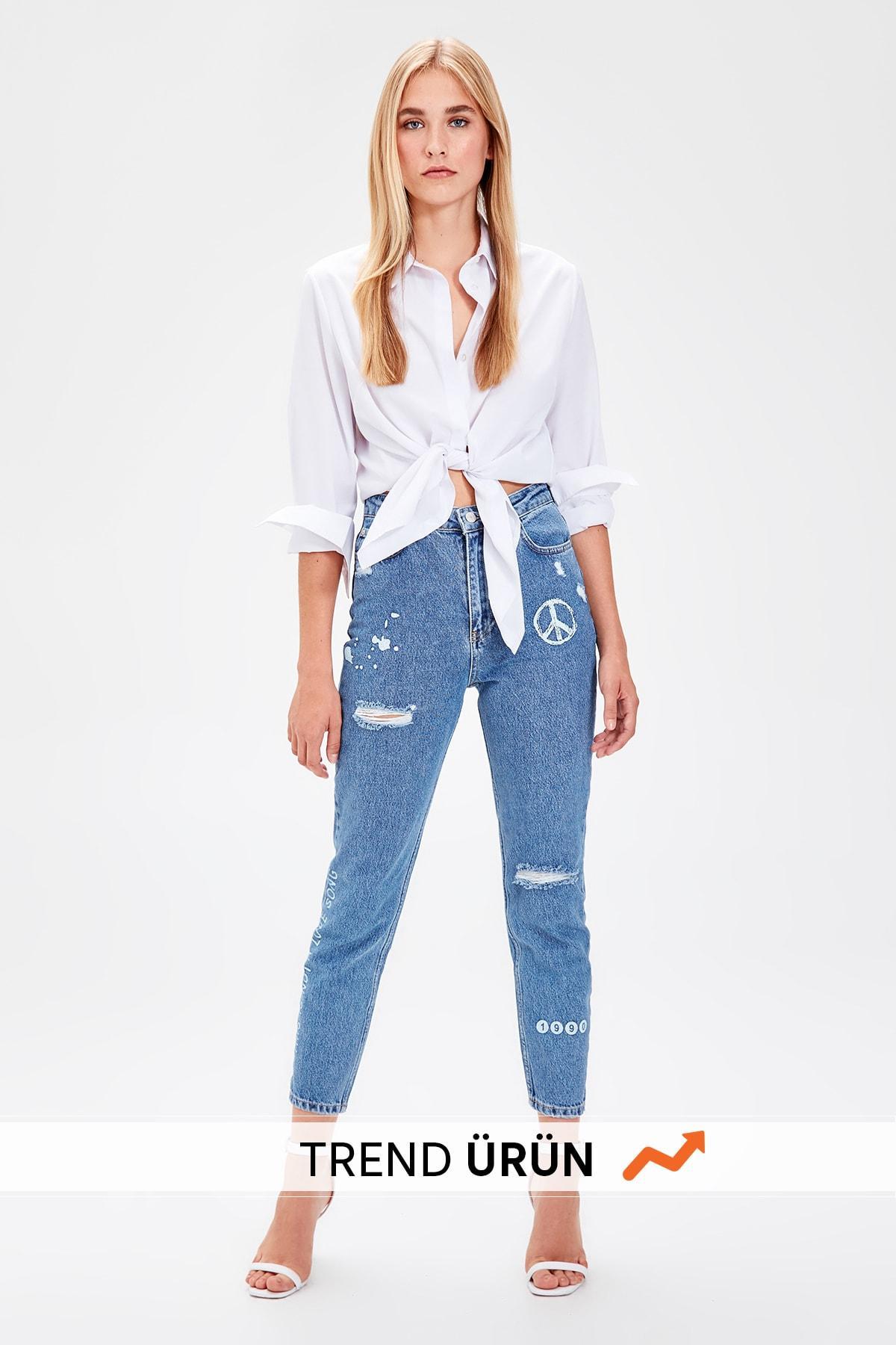 Trendyol Blue Print Detailed High Bel Mom Jeans TWOAW20JE0016