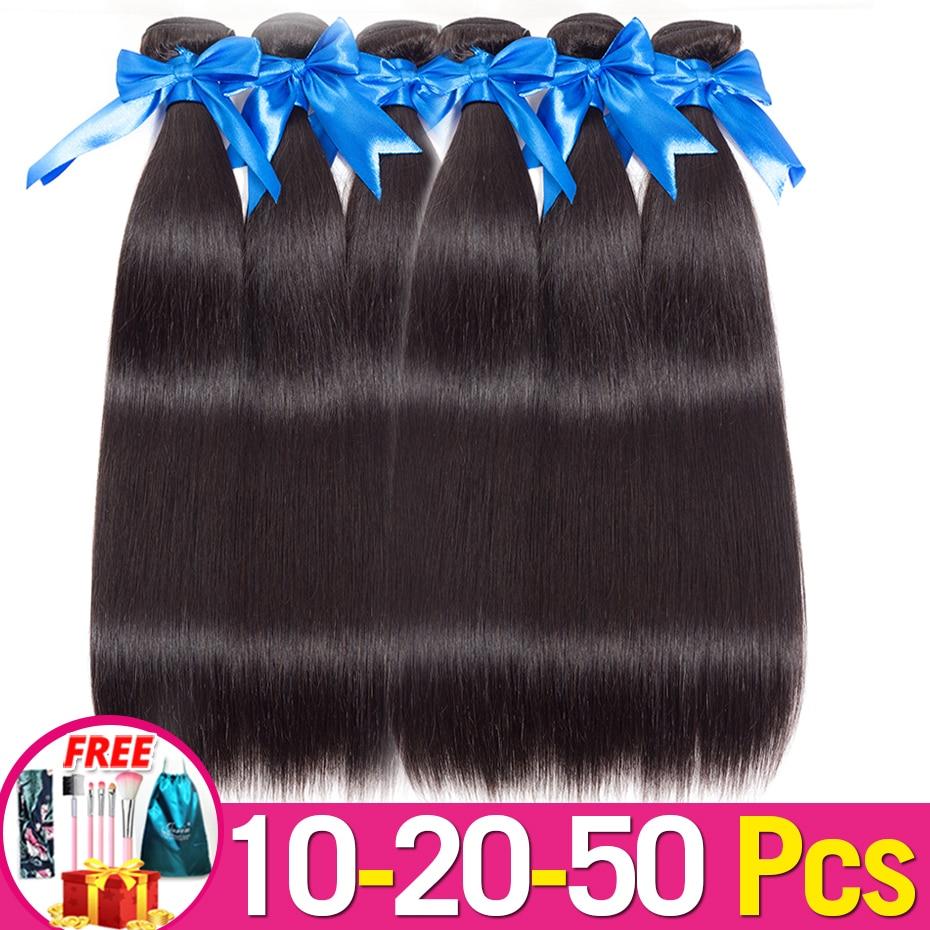 Jarin cabelo 10-20-50 pacotes/lote tecer cabelo brasileiro em linha reta preço por atacado cabelo humano pode misturar qualquer comprimento remy 100g/pacote