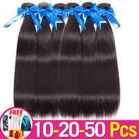 Jarin del pelo 10-20-50 mechones/lot brasileño de la armadura del pelo recto al por mayor del pelo humano puede mezclar cualquier longitud Remy 100g/paquete