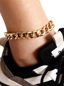 Salircon Chunky Anklet Bracelets Link-Chain Foot-Jewelry Beach-Accessory Cuban Women