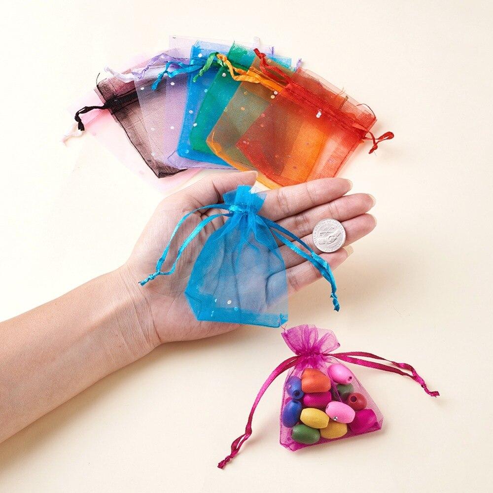7*9cm 100/pcs Petit sac en organza Mariage Candy Nourriture Emballage Sacs 7*9/cm Plecupe Bijoux Sac cadeau en mousseline Transparent Sacs de fil Multicolore beige