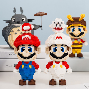1650 Uds + MePin Mini Super Marioed Bros figura Yoshied Luigi bloque de construcción de diamante modelo micro ladrillos juguetes para niños regalo