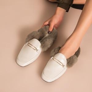 Image 2 - BeauToday פרווה כפכפים נשים כבש עור ארנב שיער פרדות מתכת אבזם כיסוי כיכר הבוהן גבירותיי נעליים שטוחות בעבודת יד 37010