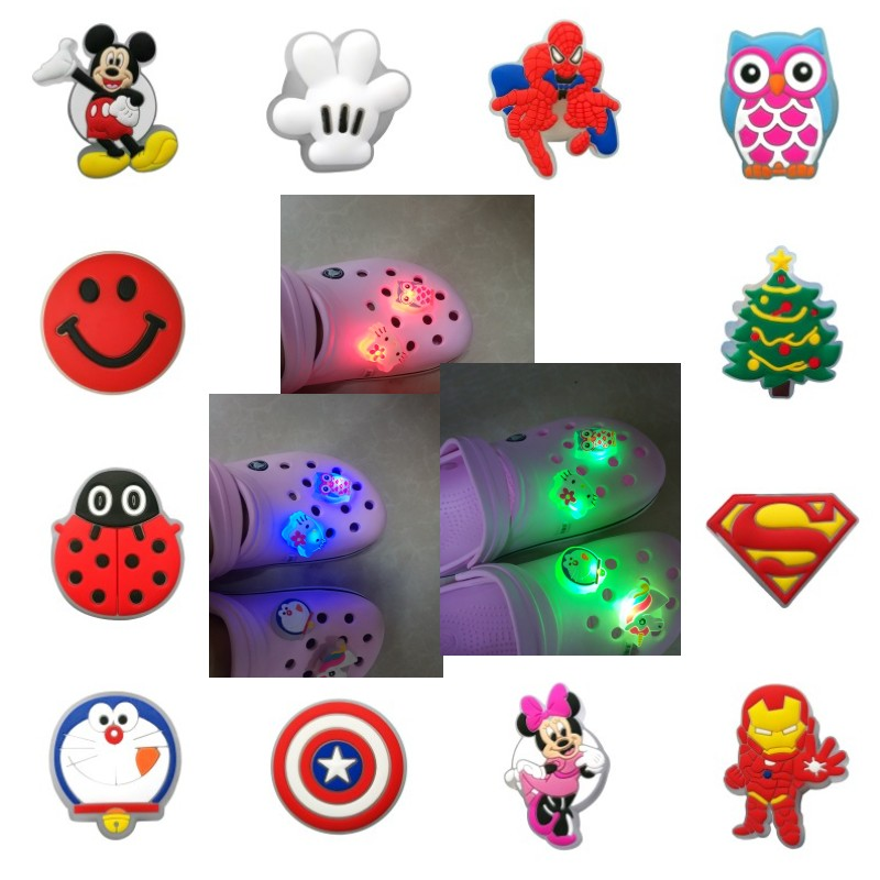 4pcs Unicorns Ladybug LED Shoe Charms Avenger Mickey Lighted Shoe Accessories Buckles Fit Bracelets Shoes Croc JIBZ Kids Gift