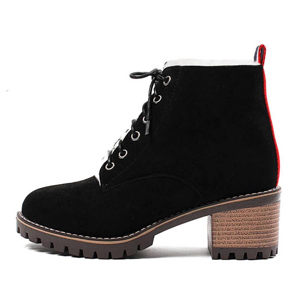Doratasia ขนาดใหญ่ขนาด 31-43 Elegant Booties Lady Lace Ups ข้อเท้ารองเท้าผู้หญิง 2019 รัสเซียฤดูหนาว Warm Fur Chunky ส้นรองเท้าผู้หญิง