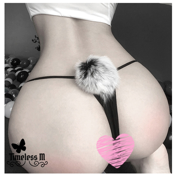 цена на Womens Sexy Panties with Cute bunny tai Cosplay Thong Rabbit Tail G-String Fur Ball T-Back Underwear exotic Comfort bottom
