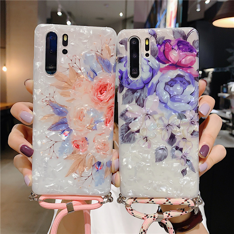 Flower Necklace Strap Rope Shell Case For Samsung Note10 Note10Pro <font><b>S105G</b></font> S10 S10 Plus S9 S9Plus Marble Lanyard Neck Cord Cover image