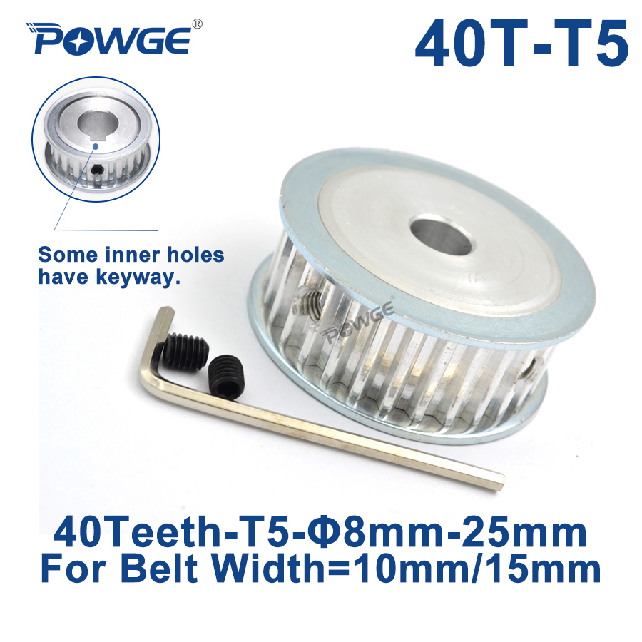 POWGE 40 Teeth T5 Timing Synchronous pulley Bore 8/10/12/14/15/19/20/22/25mm for belt width 10/15mm 40-T5-15 AF Gear 40teeth 40T image