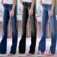 Seksowne dżinsy damskie Plus rozmiar 4XL 3 kolorowe jeansowe jeansy rozkloszowane Lady Casual Slim Skinny dopasowane dżinsy letnia wiosna damskie dżinsy z wysokim stanem tanie tanio WICCON COTTON Poliester Pełnej długości LL0552 Na co dzień Plaid Wysoka Zipper fly NONE Spodnie pochodni REGULAR light