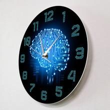 Binary Code Art Intelligence Brain Wall Clock Silent Movement Wall Watch Company Office Decor Brain Circuit Board Art For Geeks