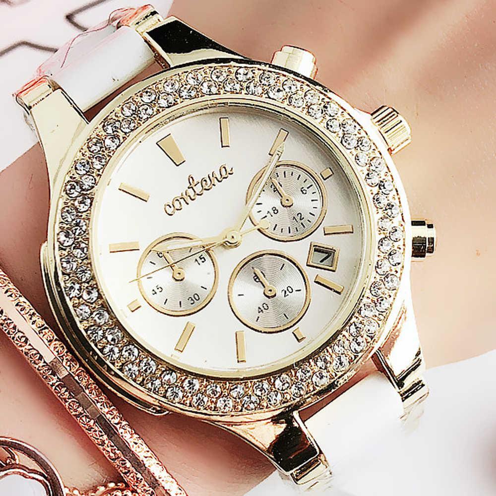 2020 Neue Mode frauen Uhren Gold Weiß Simulierte-keramik Quarz Uhr Weibliche Uhr Damen Handgelenk uhren Relogio Feminino