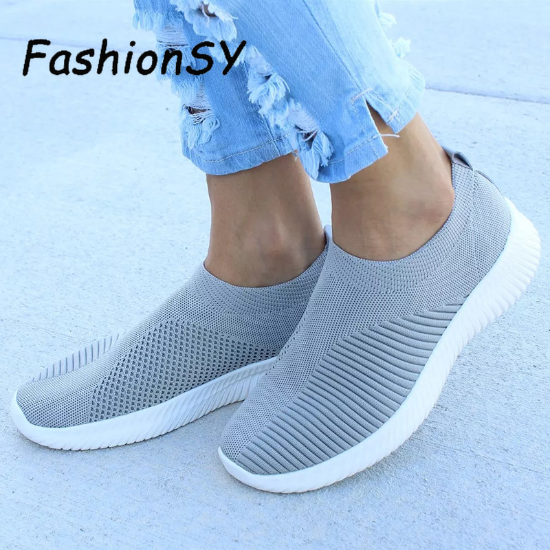 Women Sneakers Stretch Fabric Socks  Fashion Vulcanize Shoes Ladies Slip On Flat Shoes Female Casual Shoes Woman