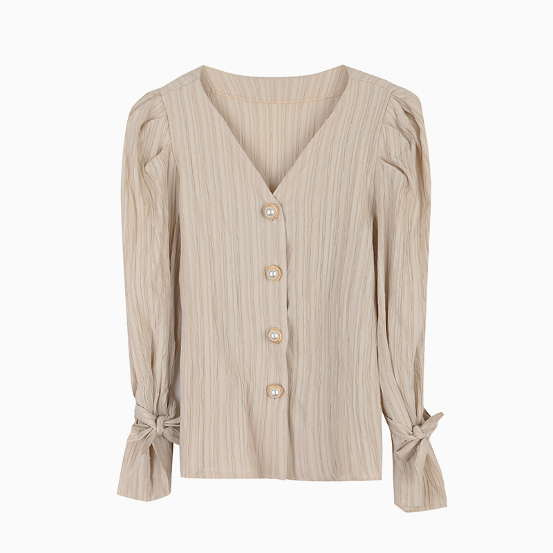 Hb130010e6a8349ffa2f91f7f5c470f3fe - Spring / Autumn Korean Long Sleeves Pearl Buttons Solid Blouse
