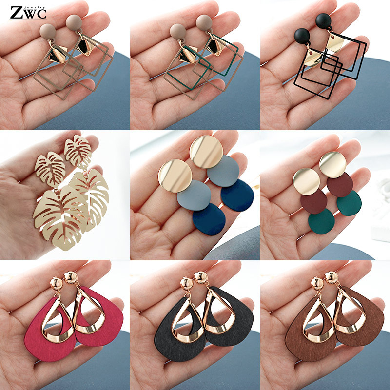 ZWC New Korean Acrylic Earrings For Women Statement Vintage Geometric Gold Dangle Drop Earrings  Female Wedding Fashion Jewelry